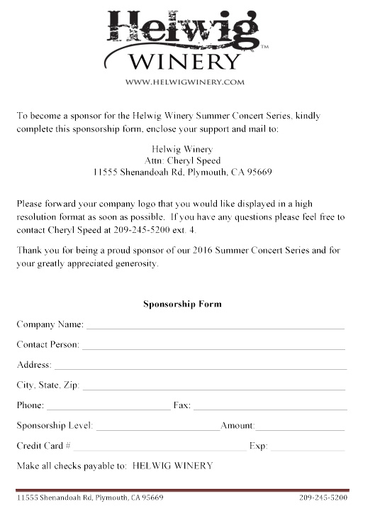 Helwig Winery - 2016 Summer Concert Sponsor Program
